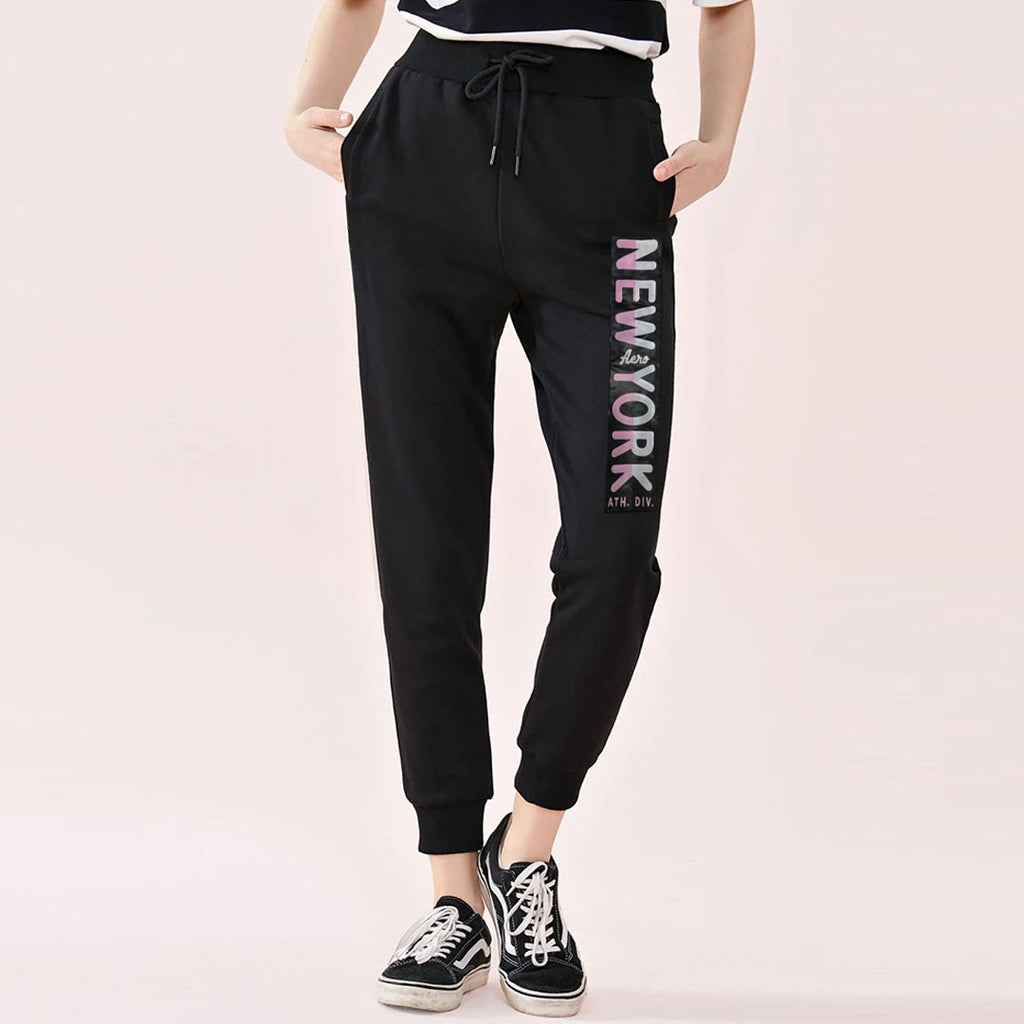 eropstl women jet black newyork printed sweat jogger pant