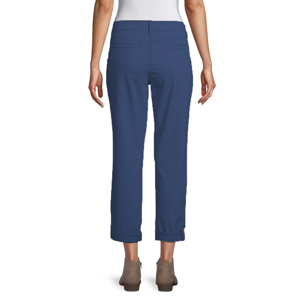st jhn bay mid rise stretchable blue straight cotton pant