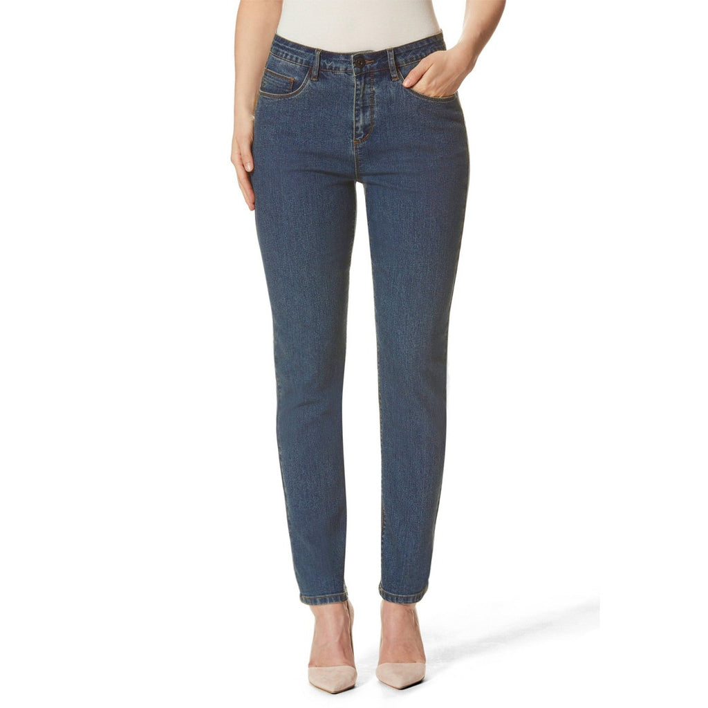 stokar high rise stretchable medium blue tapered fit jeans