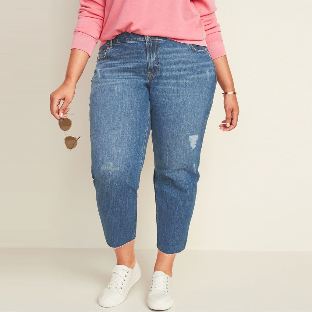 clok hous mom fit high rise medium blue ripped plus size jeans