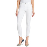 skiny girl mid rise stretchable white frey hem skinny fit jeans