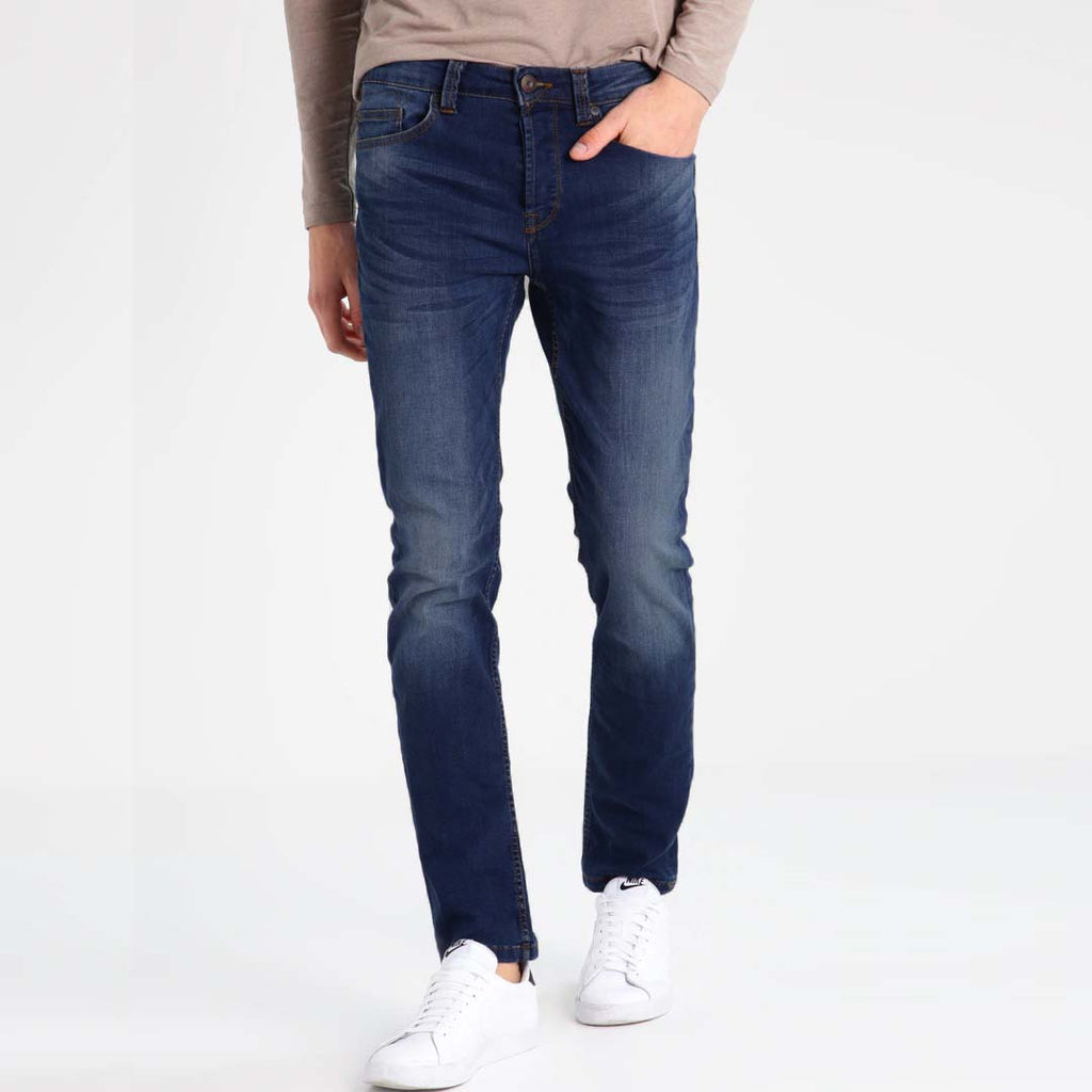 Brand mustng slim fit stretchable dark blue faded jeans