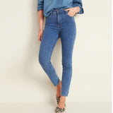 old nvy  rockstar solid blue high rise stretchable women jeans