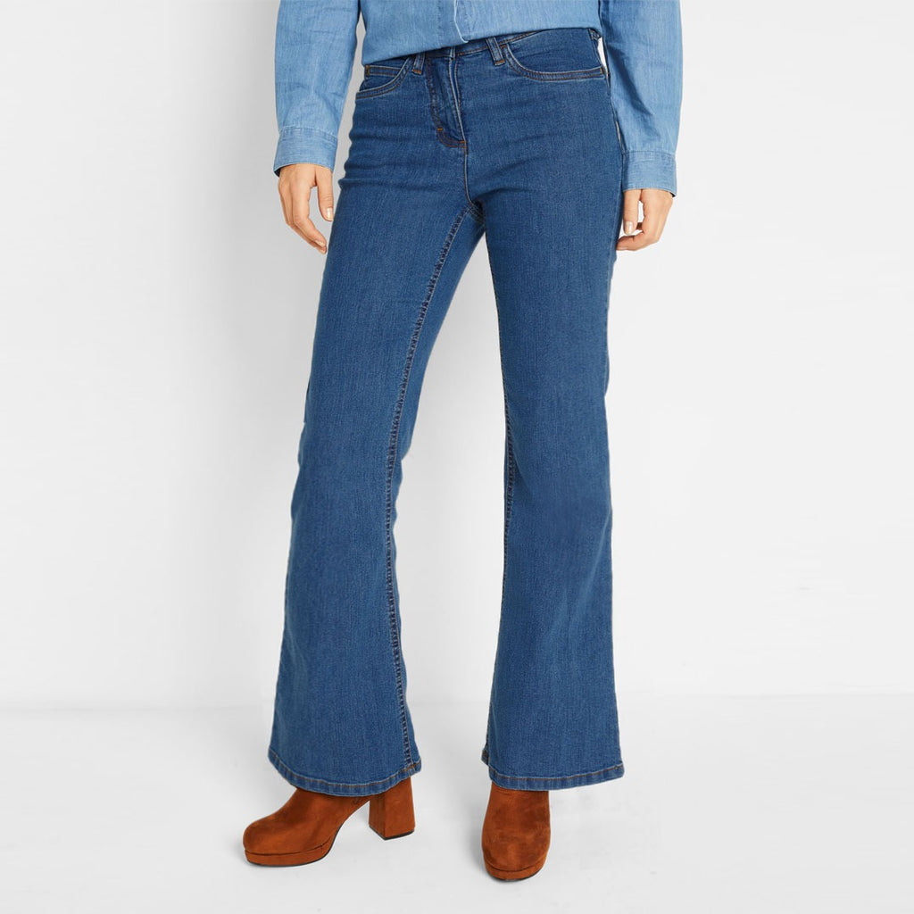 john banr stretchable bootcut texture blue ladies jeans