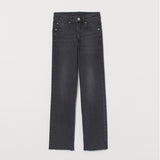 Hm Straight High rise crop bottom stretchable dark grey ladies jeans