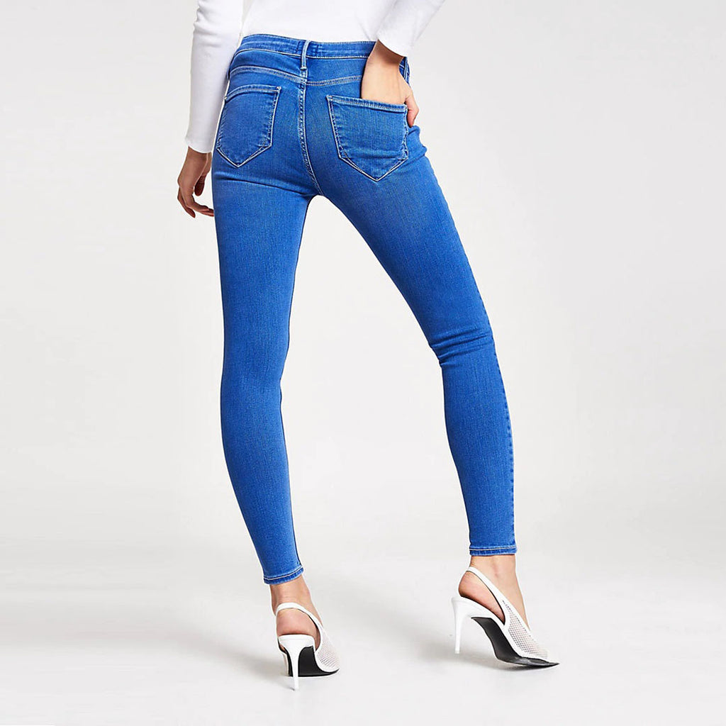 authentic dnm skinny fit mid rise ankle length stretchable ladies jeans