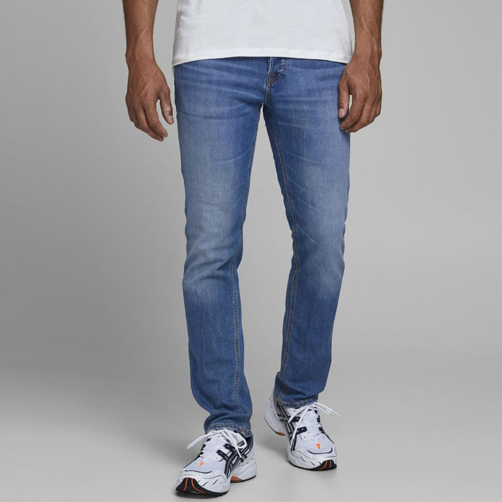 Jack & Jhn medium blue slim fit stretchable jeans for men