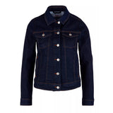s.oliver slim fit stretchable solid blue denim jacket for women