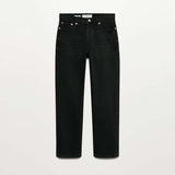 MGO Straight fit ankle length stretchable black ladies jeans
