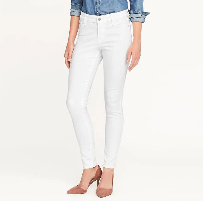 Brand o-nvy white high rise skinny stretchable jeans (3880321450032)