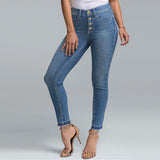 brand zuki slim fit stretchable high rise light blue jeans for women