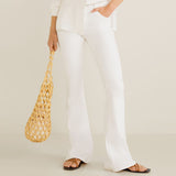 Brand o-nvy mirco flare White stretchable ladies jeans (3879257473072)