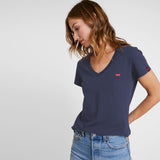 brand lvs women navy blue v neck t-shirt (4437895020592)