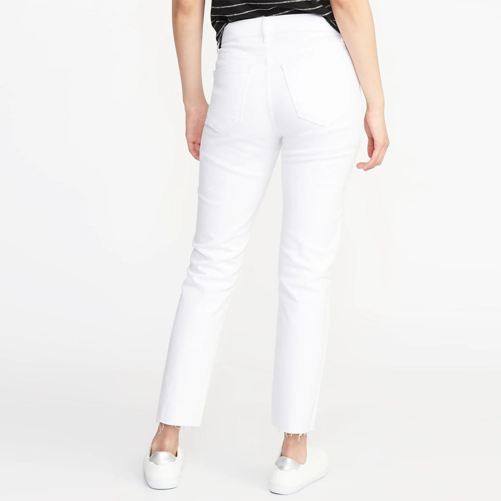 Brand old nvy Mid-Rise White straight Ankle Jeans for Women