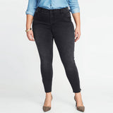 Brand on-ly slim fit stretchable black stone wash crop bottom slit women jeans (3799648239664)