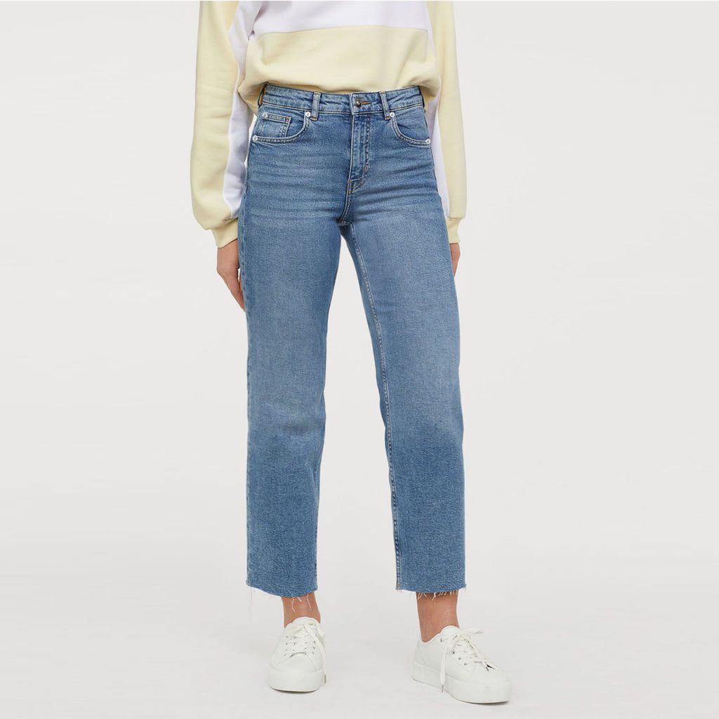 Hm Straight High rise crop bottom stretchable light blue ladies jeans