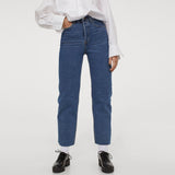Hm Straight High rise crop bottom stretchable dark blue ladies jeans