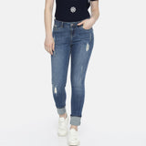 Brand hd ladies slim fit stretchable ripped jeans (3848098381872)