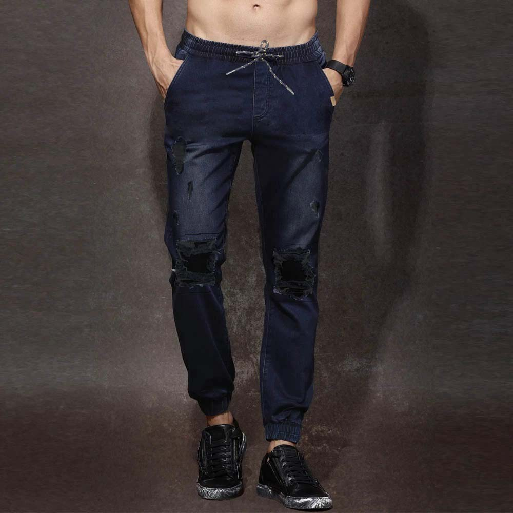brand crop denim navy blue mens ripped jogger pant