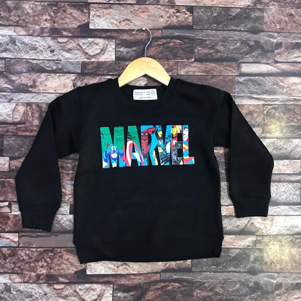zr marvel print black sweat shirts for kids