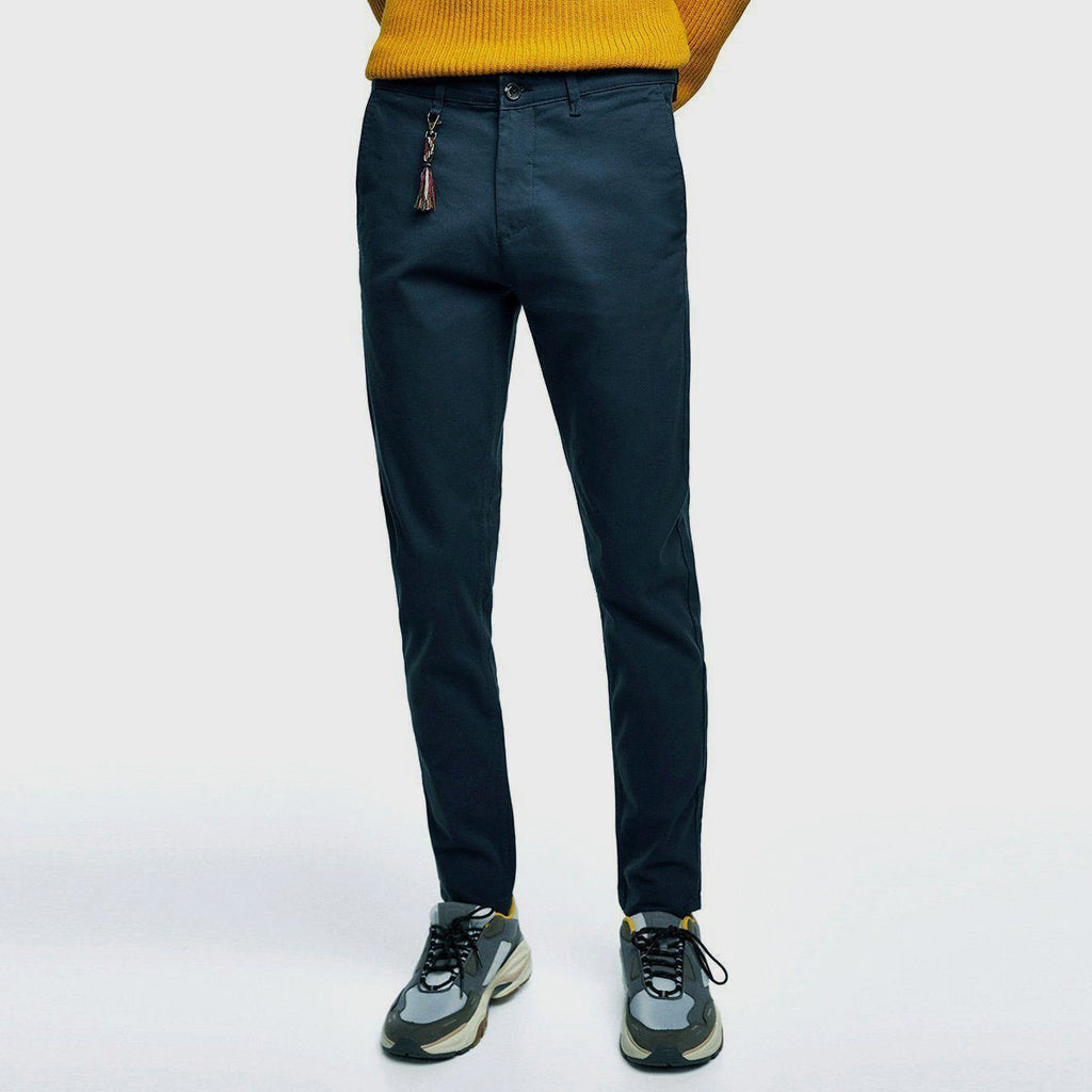 Brand ZR Navy Blue slim fit stretchable Cotton chino (3665555947568)