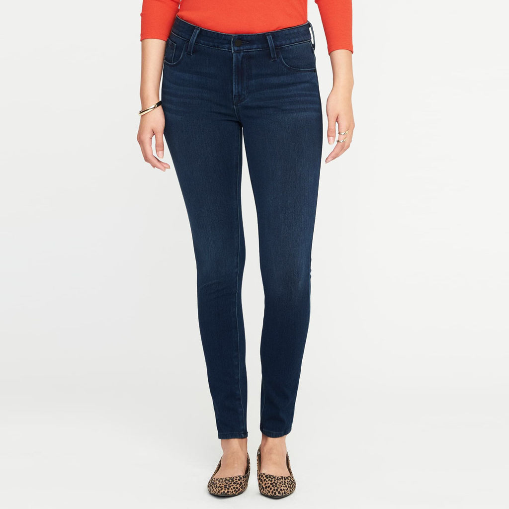 Brand o-nvy mid rise stretchable navy blue faded ladies jeans (3681479032880)