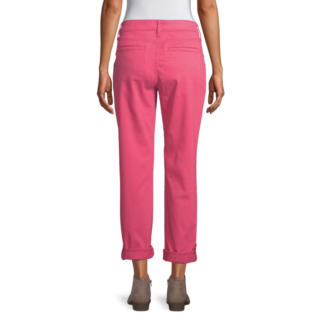 st jhn bay mid rise stretchable claret red straight cotton pant