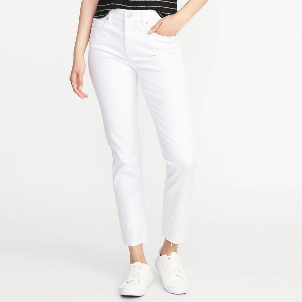 Brand old nvy Mid-Rise White straight Ankle Jeans for Women (4169400254512)