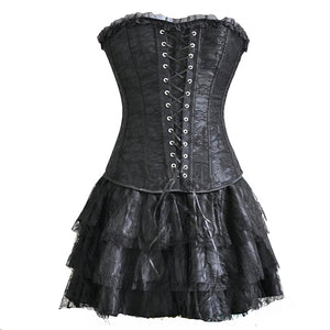 30fea7ad27 4 Colors S-6XL Sexy Corselet Women Plus Size Satin Overbust Embroidered  Corset Bustier Dress