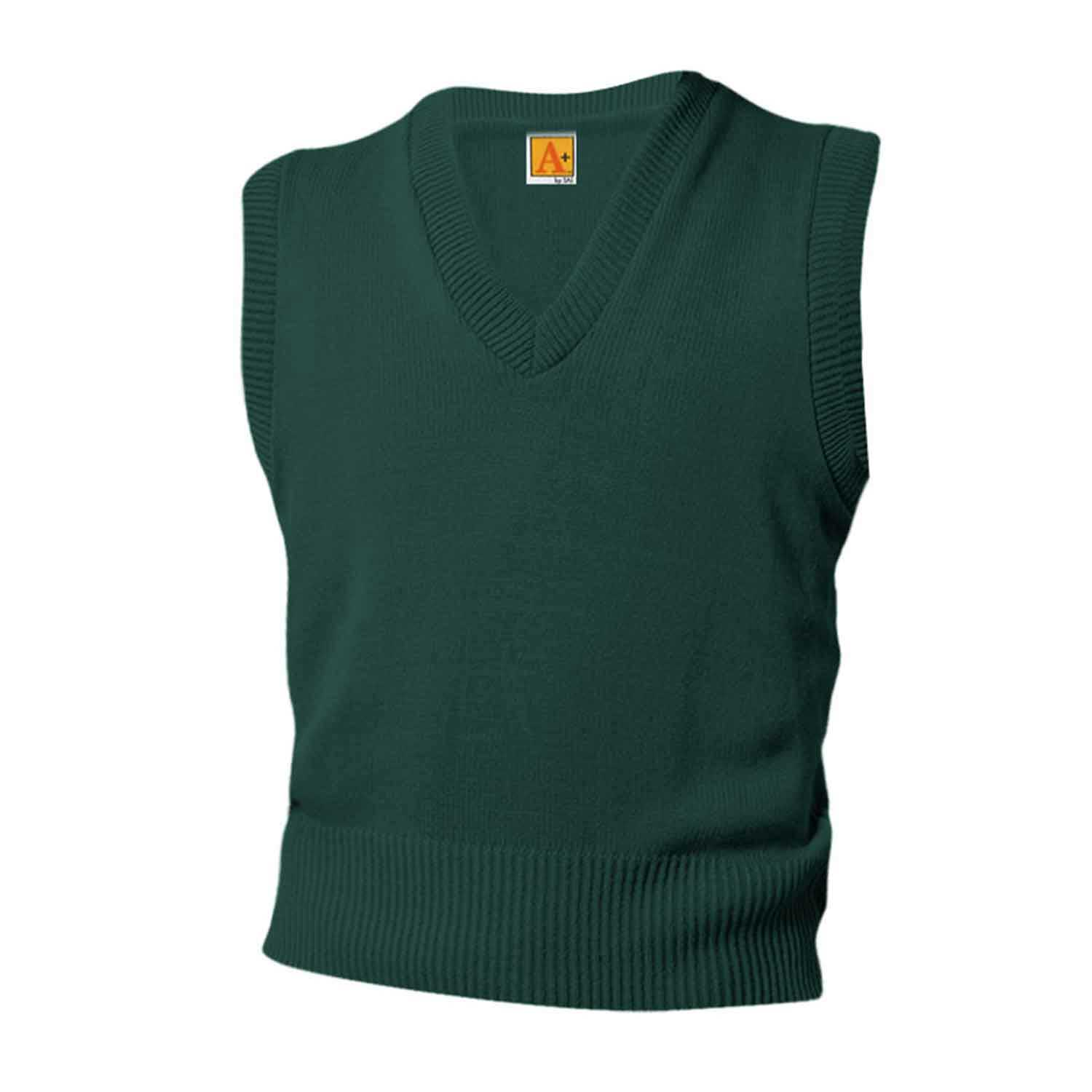 V-Neck Sleeveless Pullover - w/ School Logo - Green