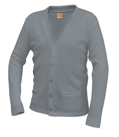 V-Neck Cardigan - w/ School Logo - Gray