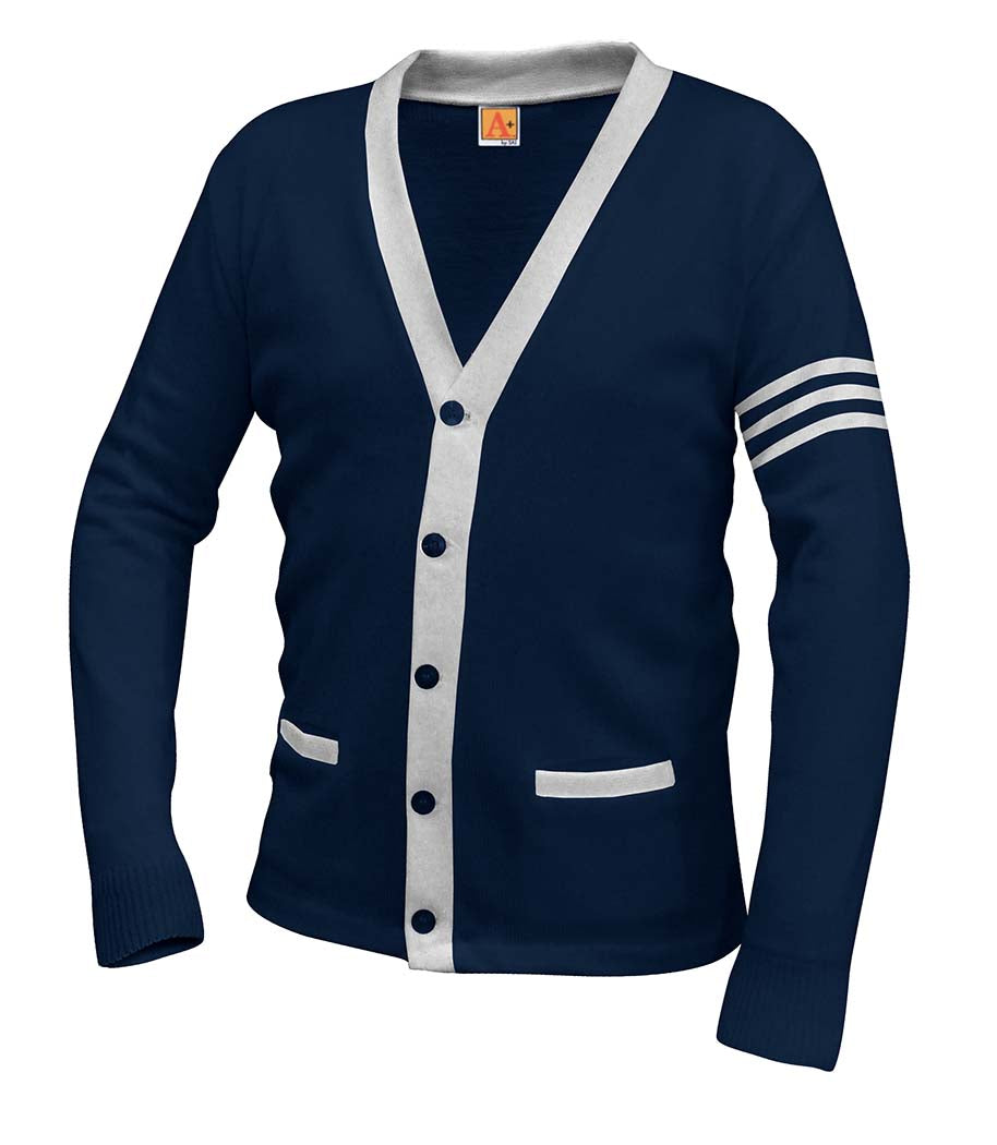 V-Neck Cardigan - Inwood High - Navy/White Stripes