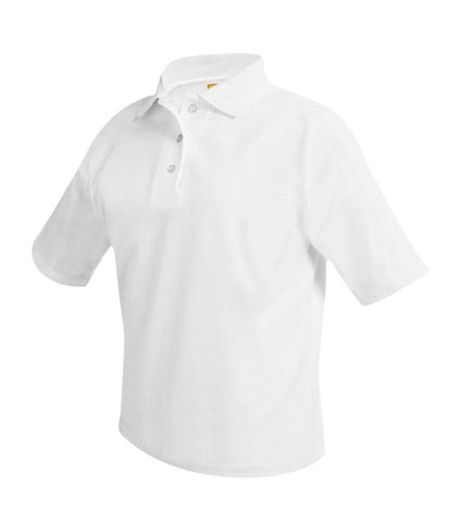 Short Sleeve Polo Shirt - White - With School Logo