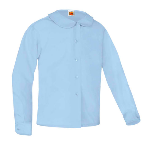 Girls Round Collar Long Sleeve Blouse Blue
