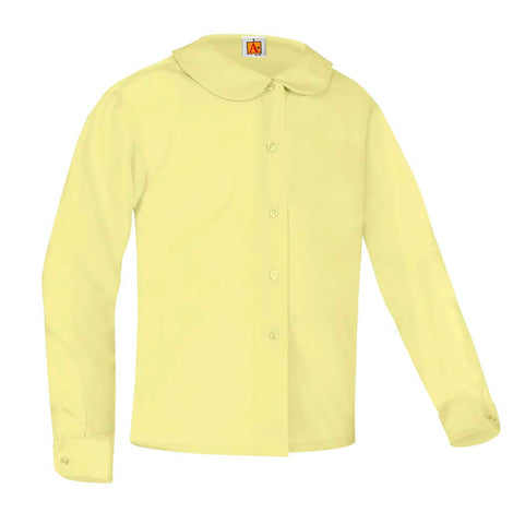 Girls Round Collar Long Sleeve Blouse Yellow