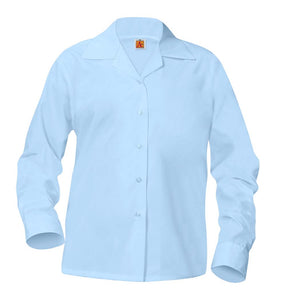 Girls Pointed Collar Long Sleeve Blouse Blue