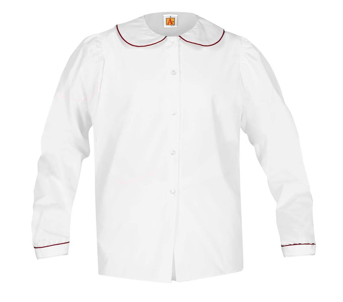 Girls Long Sleeve Blouse with Trim White w Red Trim