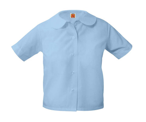 Girls Round Collar Short Sleeve Blouse Blue