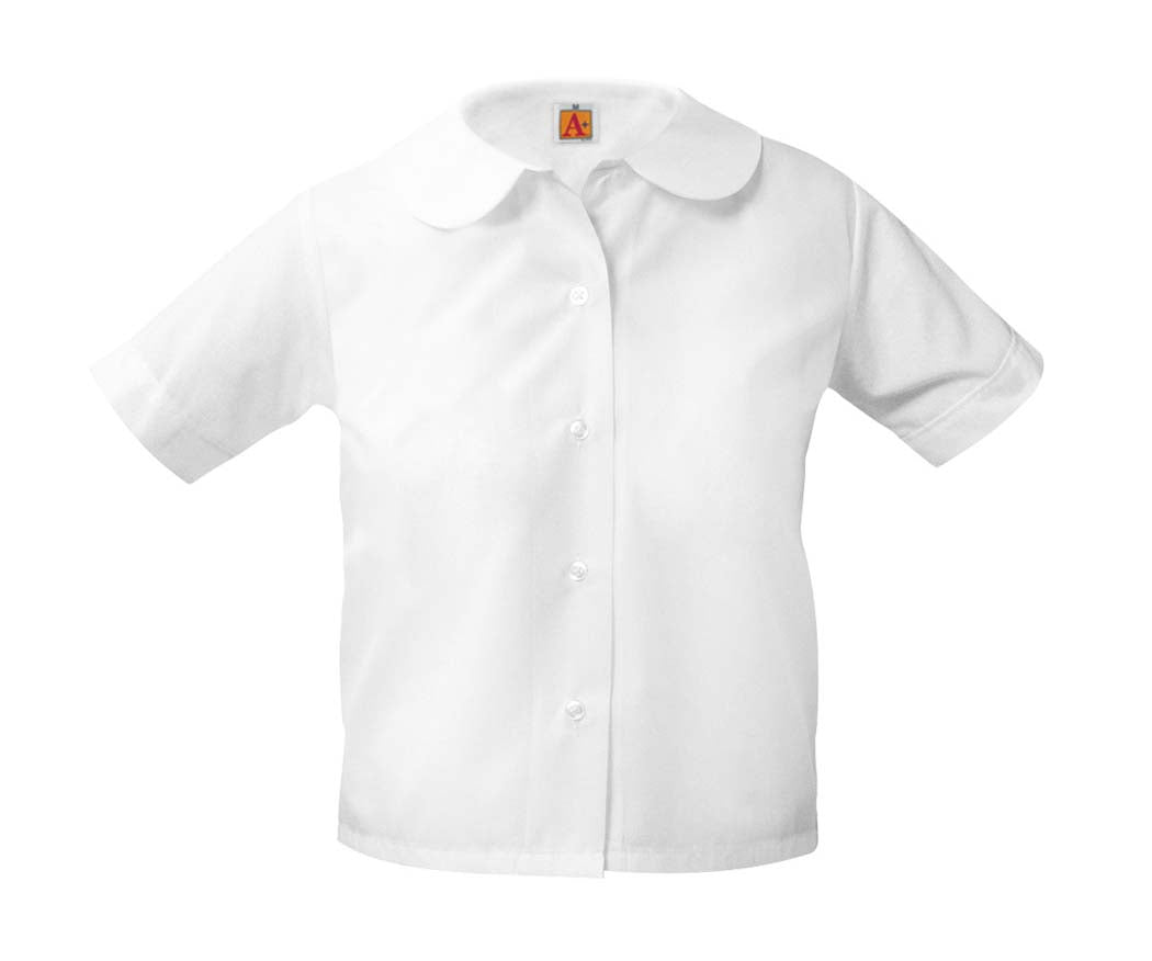 Girls Round Collar Short Sleeve Blouse White