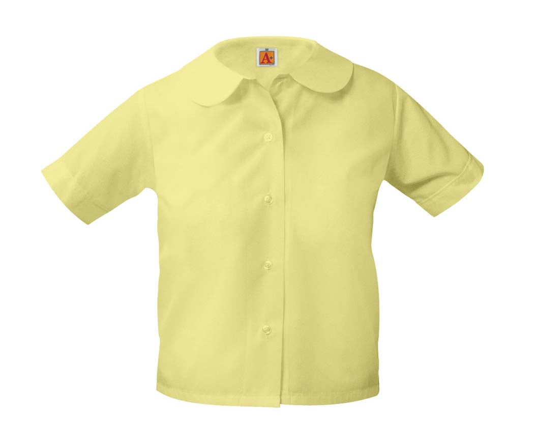 Girls Round Collar Short Sleeve Blouse Yellow