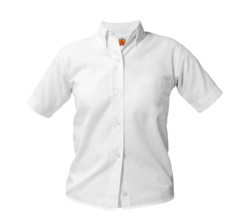 Girls Short Sleeve Oxford Blouse White
