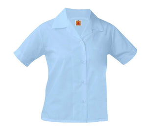 Girls Pointed Collar Short Sleeve Blouse Blue
