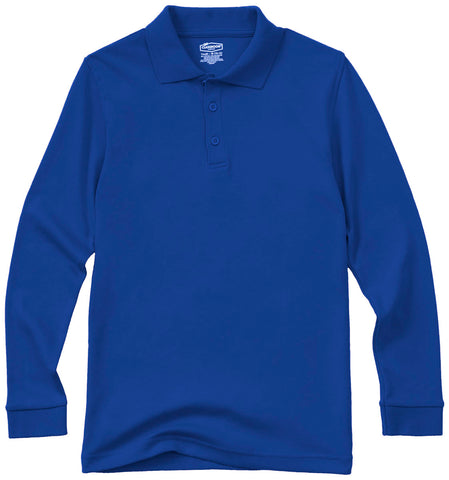Long Sleeve Polo Shirt - Royal Blue - With School Logo