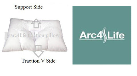 two sides for the arc4life traction pillow: Traction Side and Support Side