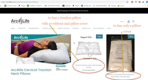 Step 2: Click on traction pillows at the top