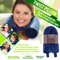Arc4life Sleep Travel Kit - Twistable Memory Pillow + Natural Silk Eye Mask and Noise Reducing Ear Plugs Set