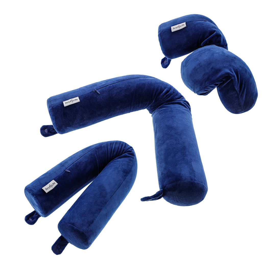 SET of 2 Arc4life Cervical Linear Traction Neck Pillow with Dust Cover and Free Travel Sleep Kit