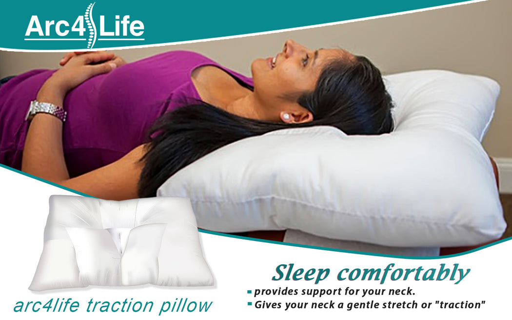 Cervical Neck Traction Pillow For Sleeping - Small, Medium, Large Sizes Side Sleeper And Back Pillows For Beds Neck Pillow For Sleeping Standard Neck Pillow For Sleep + Bonus Travel Sleeping Kit