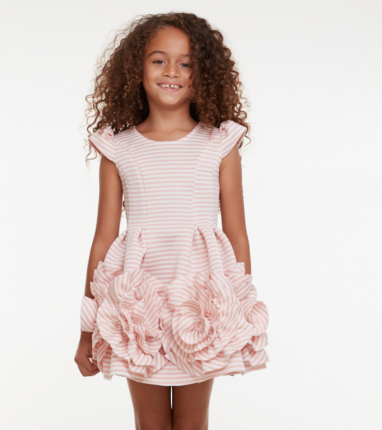 Candy Stripe Ruffle Flower Dress
