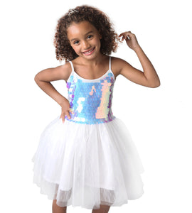 Iridescent Sequin Bodice Ballerina Dress